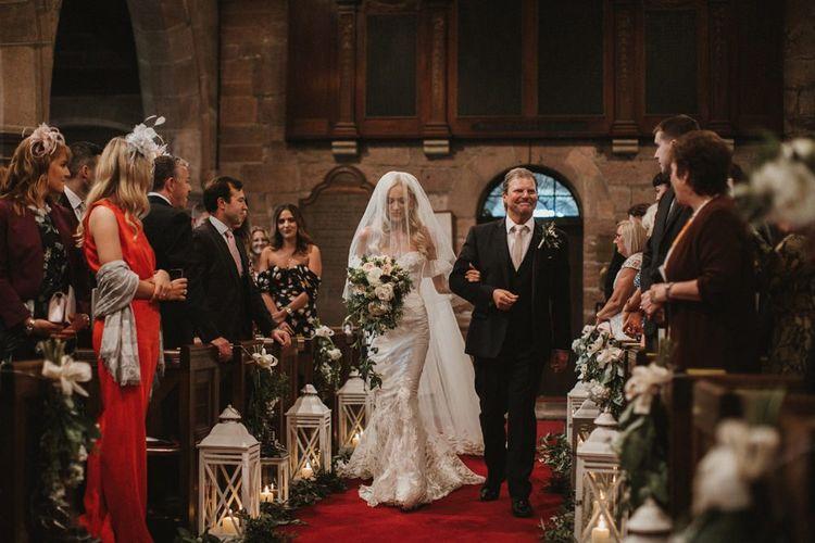 Bride Walks Down The Aisle At Church