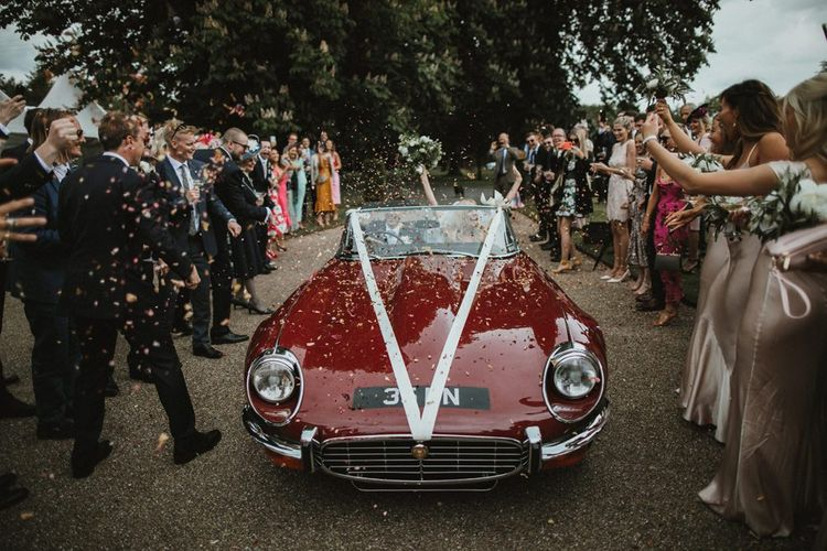 Vintage Red Wedding Car with Roof Down