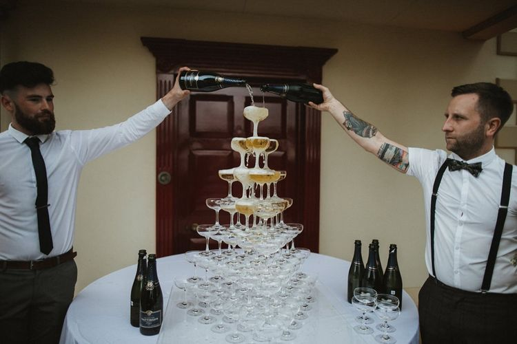 Champagne Tower Being Poured