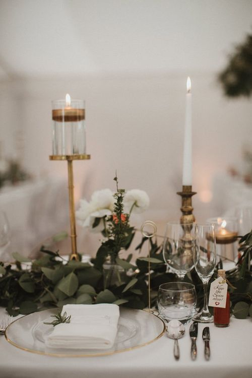 Wedding Table Decoration With Foliage Flowers and Candles