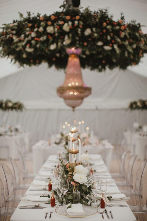 Wedding Reception In Marquee With Chandelier