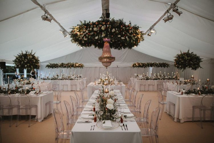 Marquee Wedding Reception Table Set Up And Decor with Chandelier