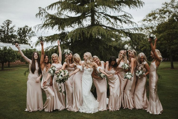 Bridal Party In Satin Ghost Bridesmaid Dresses