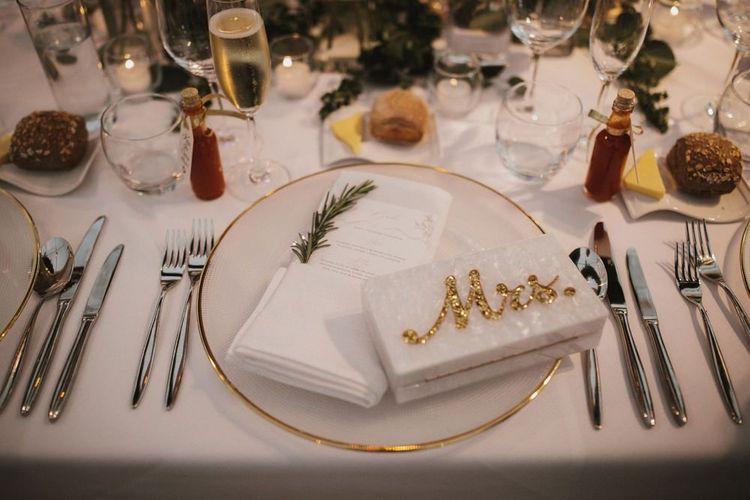 'Mrs' Clutch Bag On Wedding Table