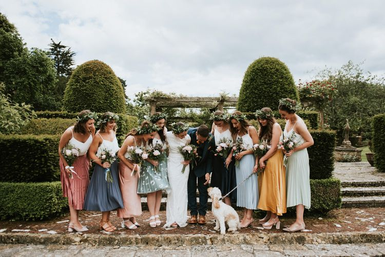 Bridal party in pastel midi-skirts