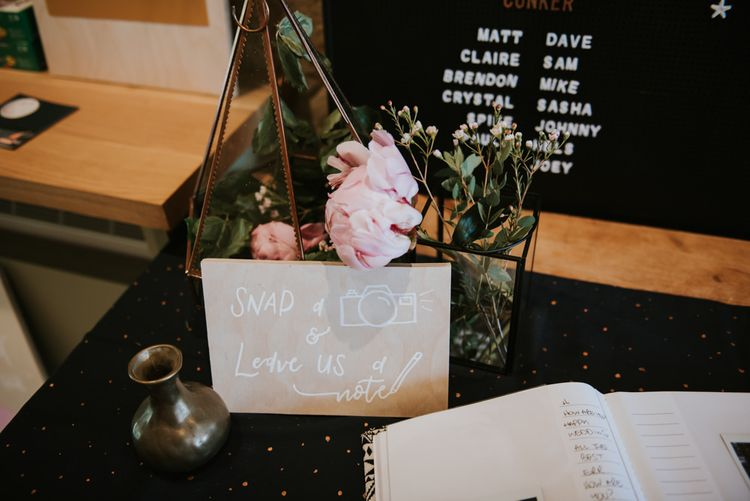 Wedding guest book with polaroid pictures