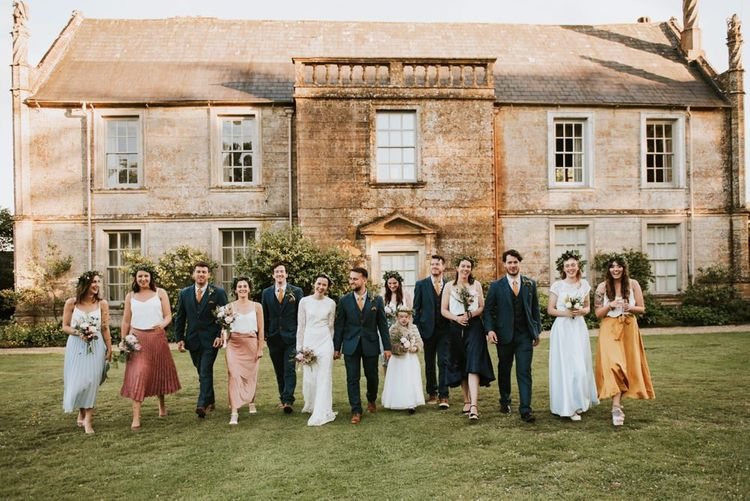 Bridal party and groomsmen at Mapperton House & Gardens wedding