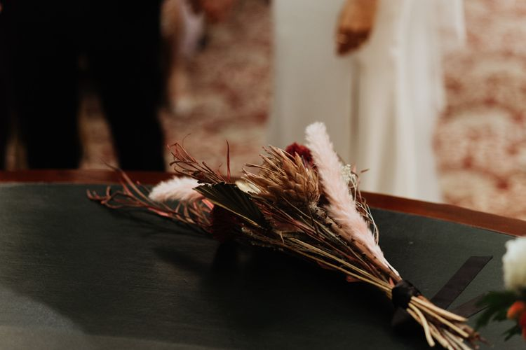 Bouquet details with dried flowers and pampas grass for a informal party wedding in Liverpool
