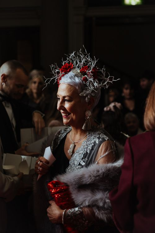 Wedding guest at a glam party celebration in Liverpool