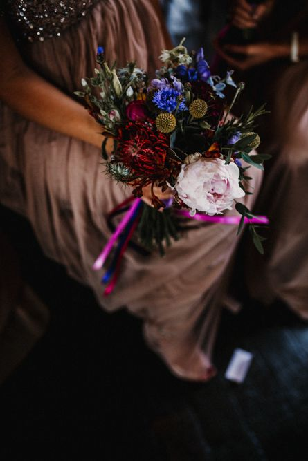 Brightly Coloured Wedding Bouquet // Image By Carla Blain Photography