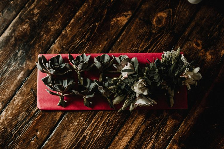 Succulent Buttonholes For Wedding // Image By Carla Blain Photography