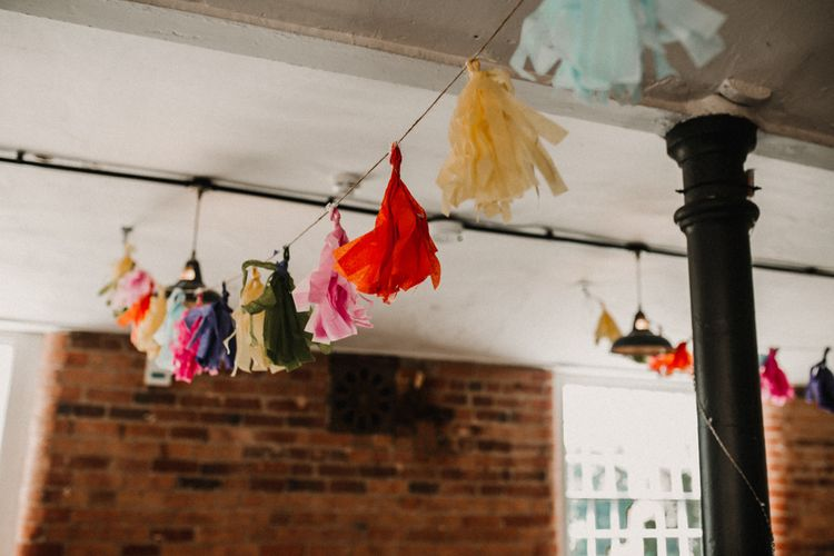 Rainbow Tassel Bunting Wedding At Industrial Venue The West Mill Derby With Bridesmaids In Maya Sequin And Tulle Dresses // Images By Carla Blain Photography