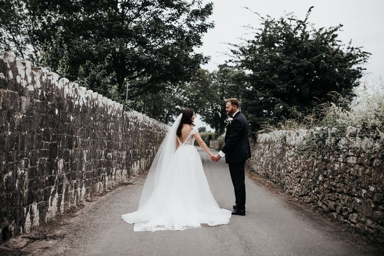 Open back Paloma Blanca wedding dress with veil for South Wales wedding