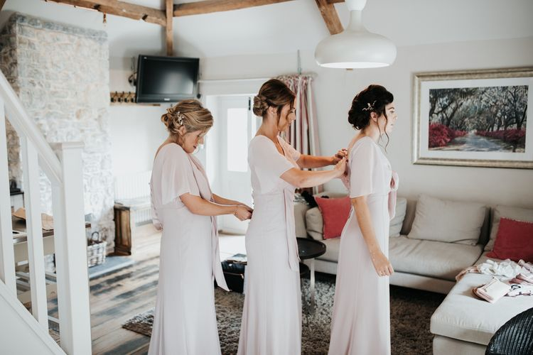 Maids to Measure blush pink bridesmaid dresses