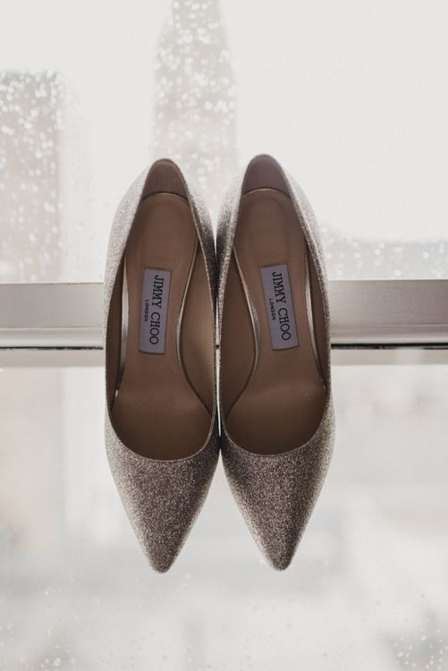 Silver Sequin Jimmy Choo Bridal Shoes