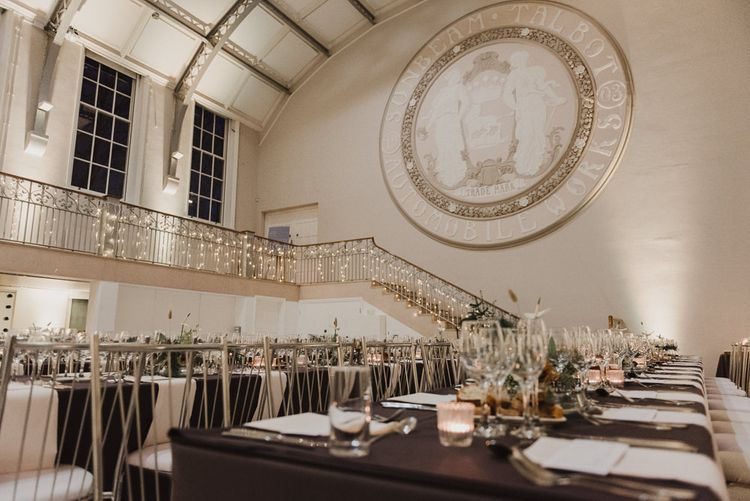 Minimalist Silver Wedding Reception Decor with Fairy Lights