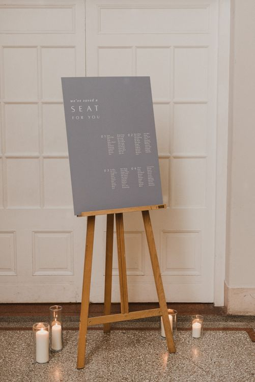 Grey Minimalist Vine In The Wild Seating Chart on an Easel