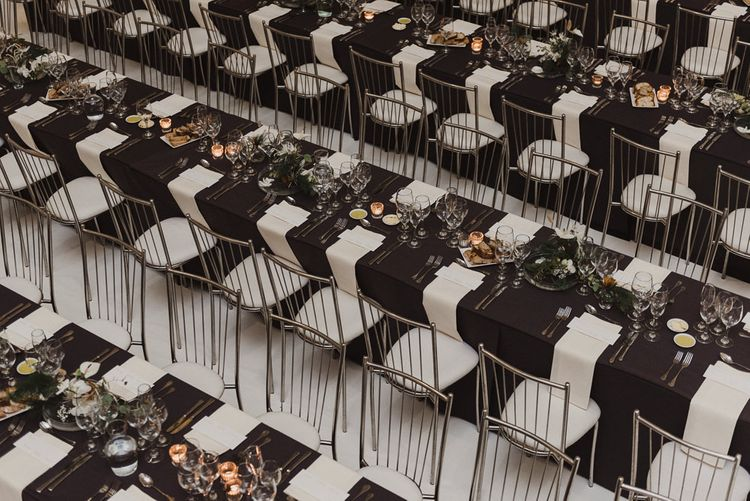 Silver, Grey and White Minimalist Reception Table Decor