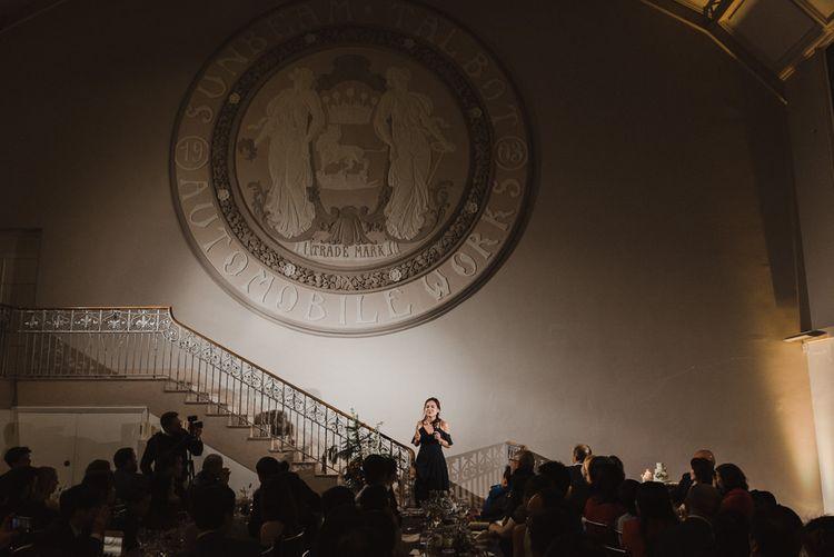 Bridesmaid Giving Wedding Speech on the Steps of Sunbeam Studios