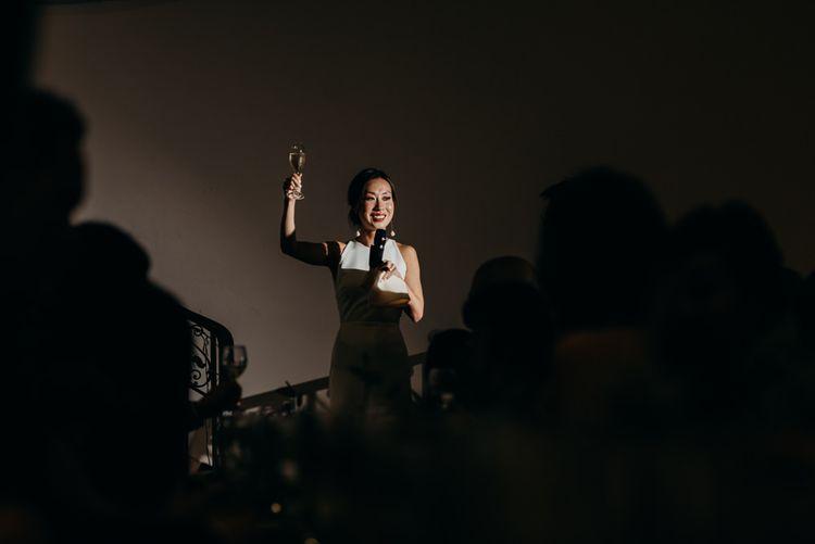 Bride Giving Wedding Speech on the Steps of Sunbeam Studios
