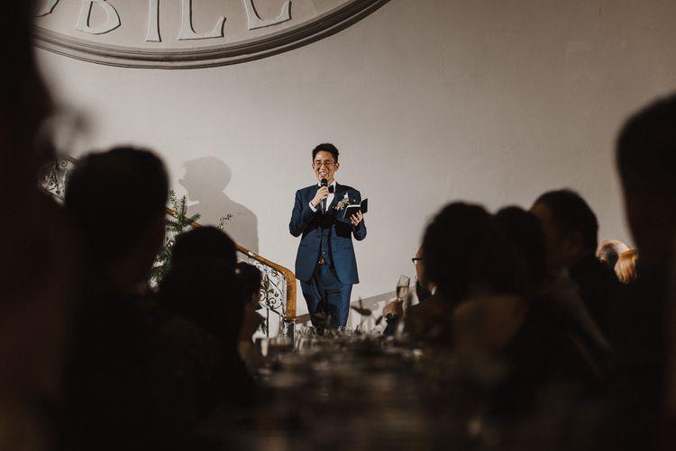 Groom Giving Wedding Speech on the Steps of Sunbeam Studios