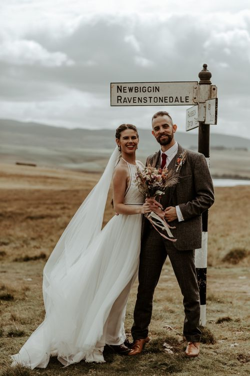 Bride and groom portrait in the Lake District for Eden Barn wedding