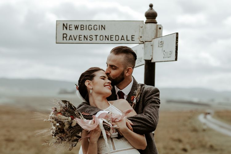 Bride and groom at socially distanced wedding in The Lake District