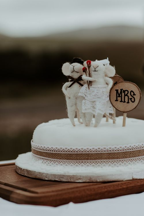 Rustic wedding cake with mouse cake toppers for Eden Barn wedding