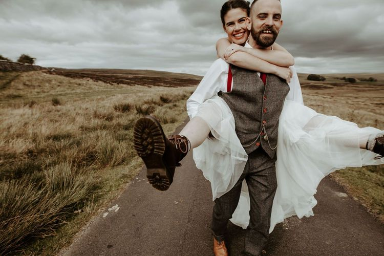 Bride and groom at socially distanced Lake District wedding by Jo Greenfield