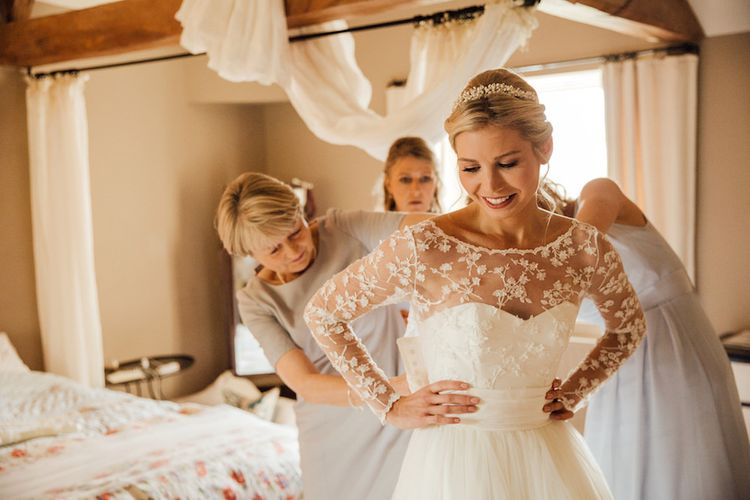 Bride In Bespoke Dress With Tiara For Autumn Wedding At Dewsall Court