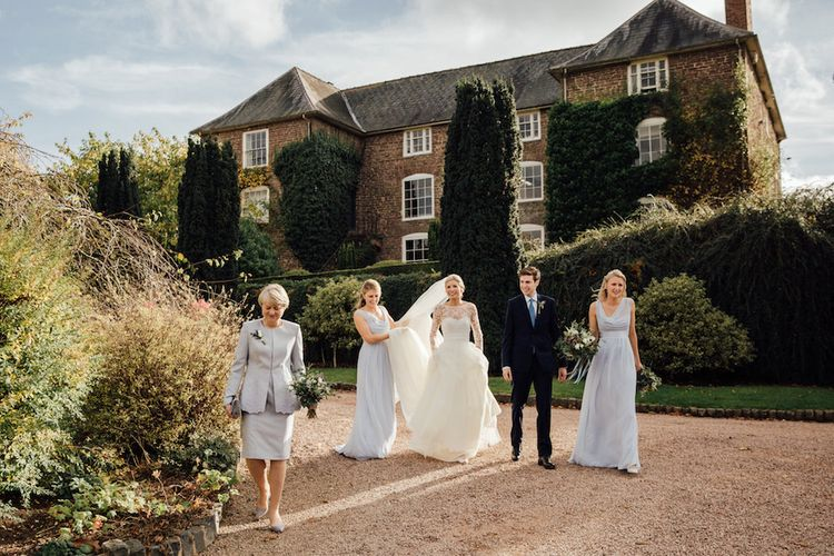 Bridesmaids In Pale Blue Dresses From Maids To Measure // Autumnal Wedding At Dewsall Court With Elephant Motif On Stationery And Bride In Tiara With Images From Red On Blonde Photography And Film From Mrs Mashup