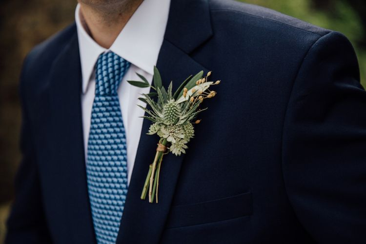 Rustic Buttonhole For Groom // Bridesmaids In Pale Blue Dresses From Maids To Measure // Autumnal Wedding At Dewsall Court With Elephant Motif On Stationery And Bride In Tiara With Images From Red On Blonde Photography And Film From Mrs Mashup