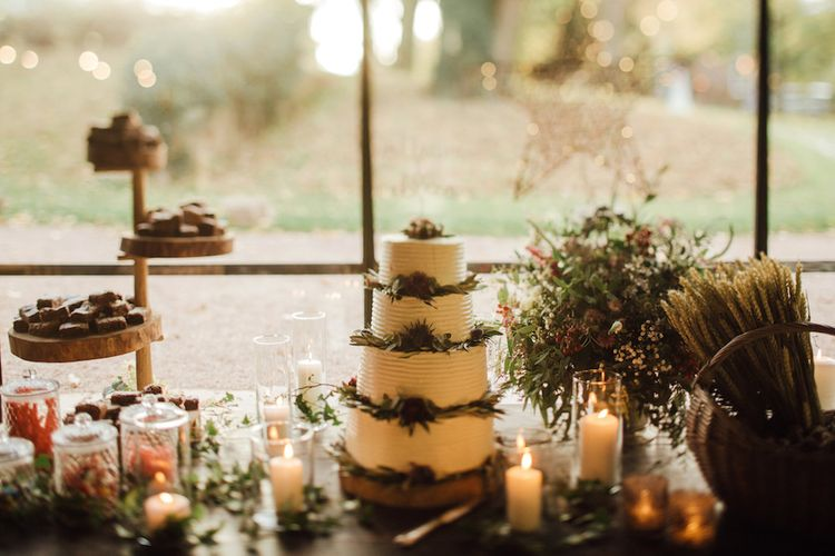 Buttercream Wedding Cake With Foliage // Autumnal Wedding At Dewsall Court With Elephant Motif On Stationery And Bride In Tiara With Images From Red On Blonde Photography And Film From Mrs Mashup
