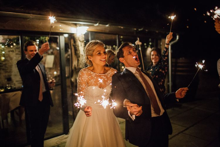 Sparklers For Wedding // Autumnal Wedding At Dewsall Court With Elephant Motif On Stationery And Bride In Tiara With Images From Red On Blonde Photography And Film From Mrs Mashup