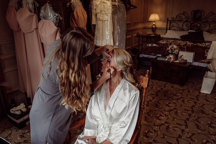 Brides Wedding Morning Preparations | Make up by Maddie Rogers | Traditional Wedding at Lainston House Hotel, Hampshire | RMW The List Supplier Jason Mark Harris Photography