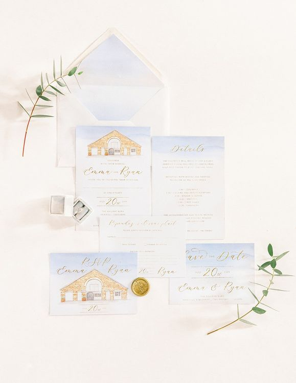 Lubell Designs Wedding Stationery for Powder Blue & Luxury Gold Wedding Inspiration Planned & Styled by Hayley Jayne Weddings & Events and Photographed by Terri & Lori Fine Art Photography & Film Studio