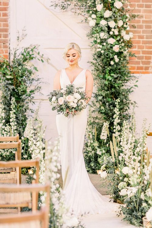 Bride in La Sposa Wedding Dress for Powder Blue & Luxury Gold Wedding Inspiration Planned & Styled by Hayley Jayne Weddings & Events and Photographed by Terri & Lori Fine Art Photography & Film Studio