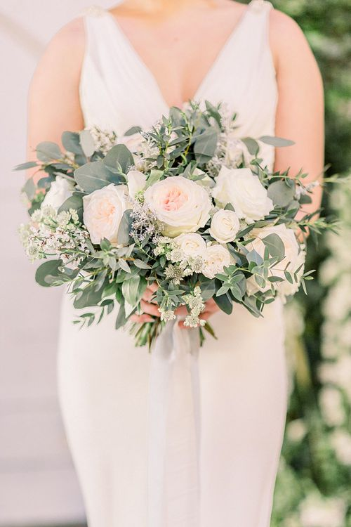 White & Green Bouquet for Powder Blue & Luxury Gold Wedding Inspiration Planned & Styled by Hayley Jayne Weddings & Events and Photographed by Terri & Lori Fine Art Photography & Film Studio