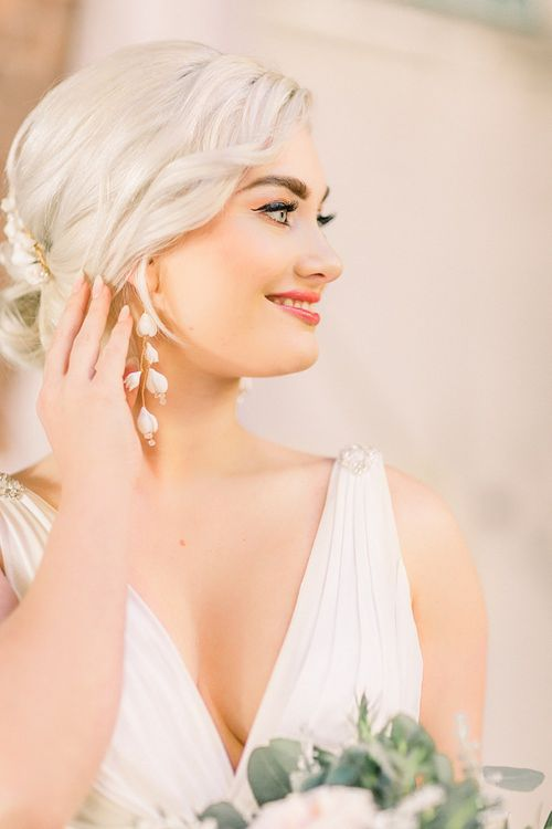 Bridal Earrings for Powder Blue & Luxury Gold Wedding Inspiration Planned & Styled by Hayley Jayne Weddings & Events and Photographed by Terri & Lori Fine Art Photography & Film Studio