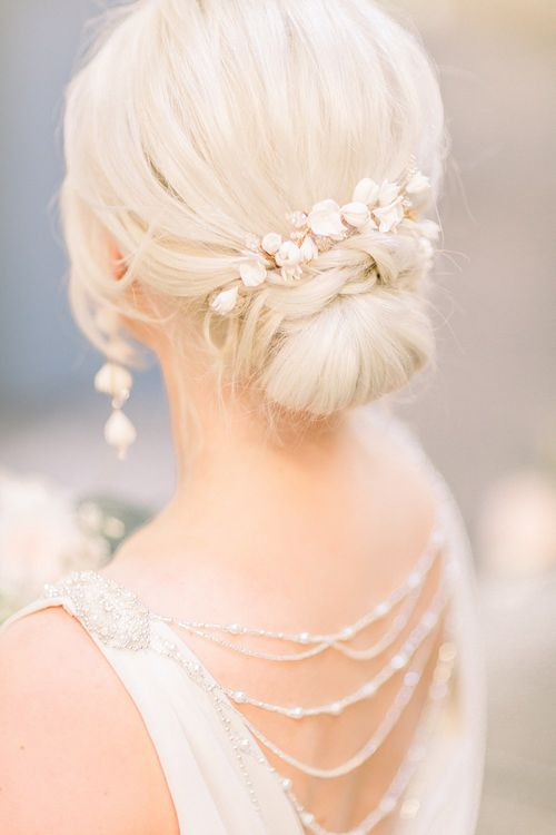 Chic Chignon Bridal Up Do with Hair Vine for Powder Blue & Luxury Gold Wedding Inspiration Planned & Styled by Hayley Jayne Weddings & Events and Photographed by Terri & Lori Fine Art Photography & Film Studio
