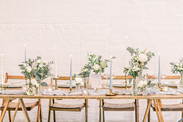 Trestle Table for Powder Blue & Luxury Gold Wedding Inspiration Planned & Styled by Hayley Jayne Weddings & Events and Photographed by Terri & Lori Fine Art Photography & Film Studio