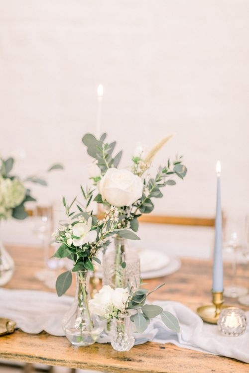 Flower Stems in Vases for Powder Blue & Luxury Gold Wedding Inspiration Planned & Styled by Hayley Jayne Weddings & Events and Photographed by Terri & Lori Fine Art Photography & Film Studio