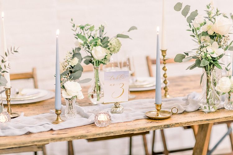 Wedding Reception Table Decor for Powder Blue & Luxury Gold Wedding Inspiration Planned & Styled by Hayley Jayne Weddings & Events and Photographed by Terri & Lori Fine Art Photography & Film Studio