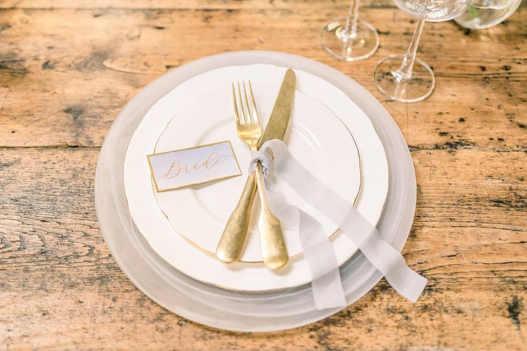 Place Setting with Gold Cutlery for Powder Blue & Luxury Gold Wedding Inspiration Planned & Styled by Hayley Jayne Weddings & Events and Photographed by Terri & Lori Fine Art Photography & Film Studio