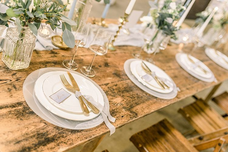Place Settings for Powder Blue & Luxury Gold Wedding Inspiration Planned & Styled by Hayley Jayne Weddings & Events and Photographed by Terri & Lori Fine Art Photography & Film Studio
