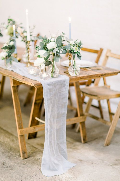 Grey Linen Table Runner for Powder Blue & Luxury Gold Wedding Inspiration Planned & Styled by Hayley Jayne Weddings & Events and Photographed by Terri & Lori Fine Art Photography & Film Studio