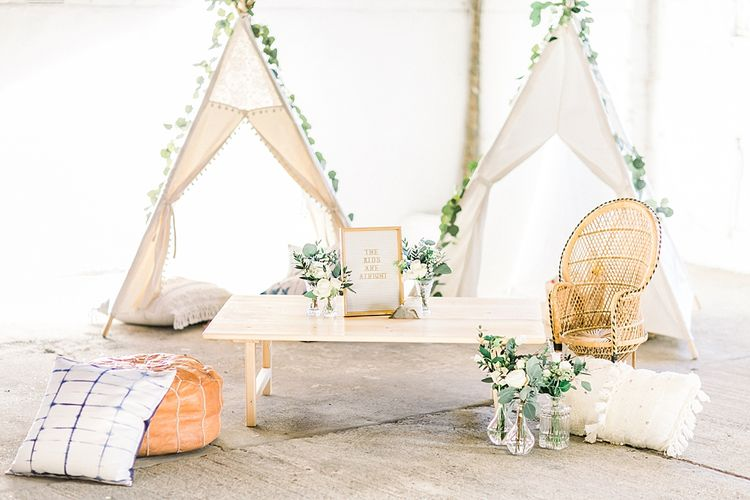 Children's Tipi Play Area for Powder Blue & Luxury Gold Wedding Inspiration Planned & Styled by Hayley Jayne Weddings & Events and Photographed by Terri & Lori Fine Art Photography & Film Studio