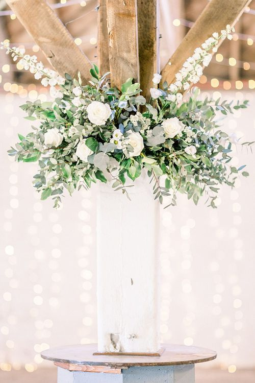 White & Green Floral Arrangement for Powder Blue & Luxury Gold Wedding Inspiration Planned & Styled by Hayley Jayne Weddings & Events and Photographed by Terri & Lori Fine Art Photography & Film Studio