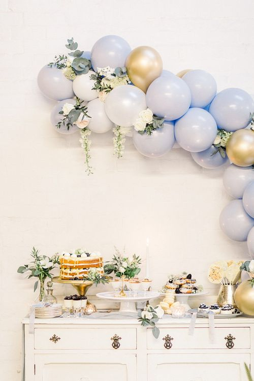 Vintage Dresser & Balloon Back Drop Cake Table for Powder Blue & Luxury Gold Wedding Inspiration Planned & Styled by Hayley Jayne Weddings & Events and Photographed by Terri & Lori Fine Art Photography & Film Studio
