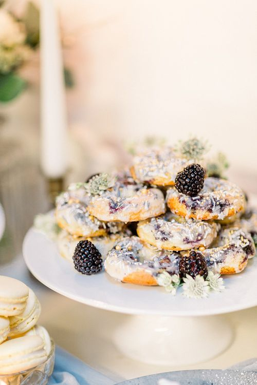 Doughnut Cake Table for Powder Blue & Luxury Gold Wedding Inspiration Planned & Styled by Hayley Jayne Weddings & Events and Photographed by Terri & Lori Fine Art Photography & Film Studio